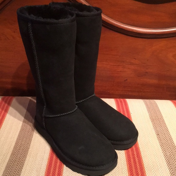 8d1f987552e Ugg Black Classic II Tall Black Sheepskin Boots